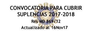Convocatoria para cubrir suplencias 2017-2018